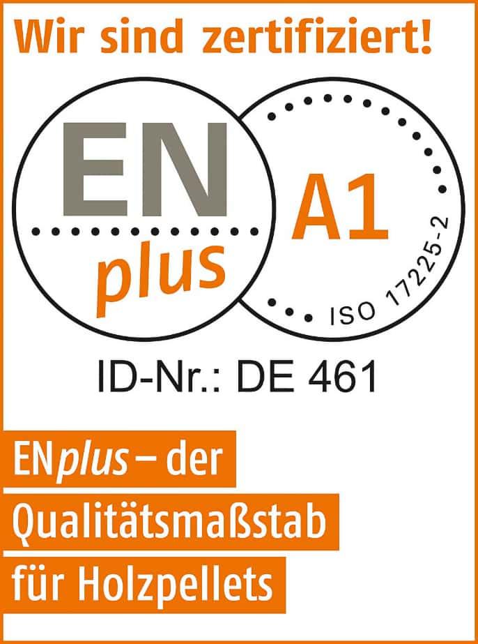 Zertifikat ENA1 Pellets Qualität
